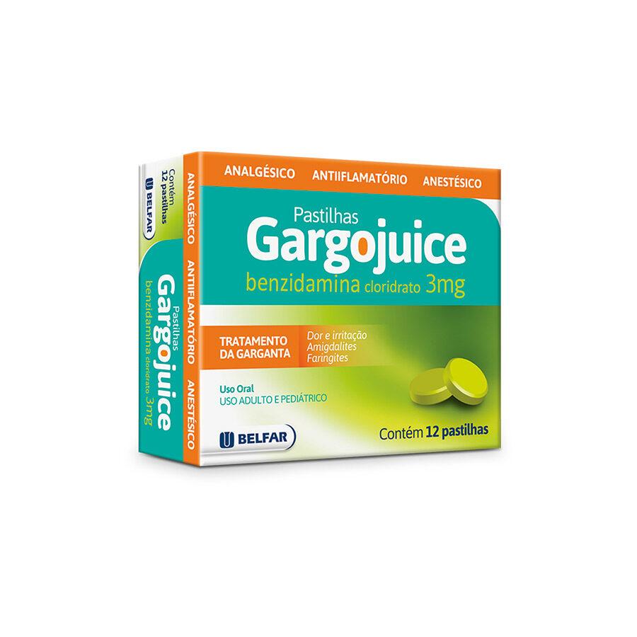 Gargojuice 3mg 12 pastilhas<BR><H5>Cloridrato de benzidamina</H5>