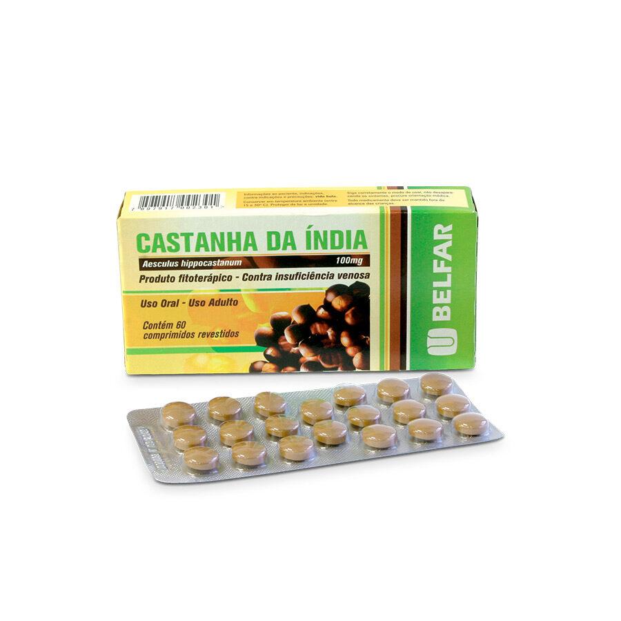 Castanha da Índia 60 Comp  Revest<BR><H5>Aesculus hippocastanum L. 100mg</H5>